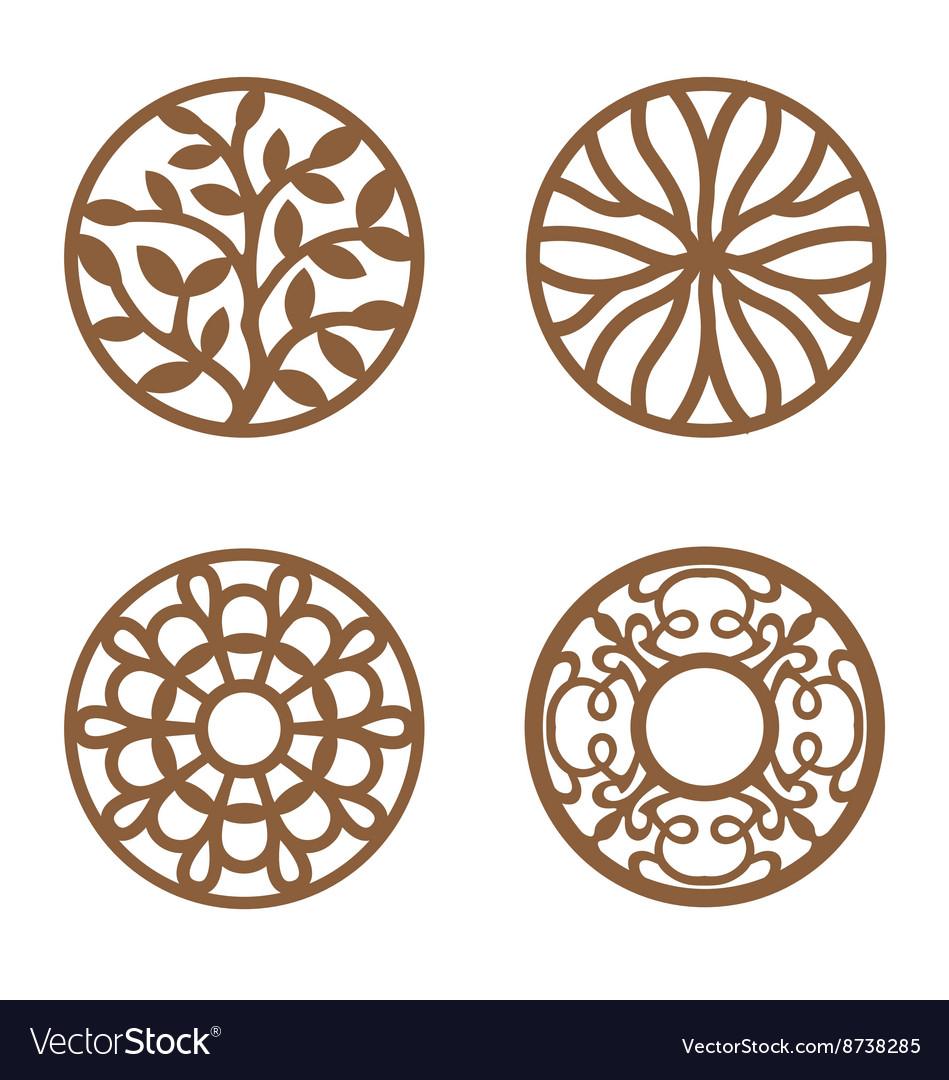flower design laser cut wood coaster vector image - Laser Cut Wood
