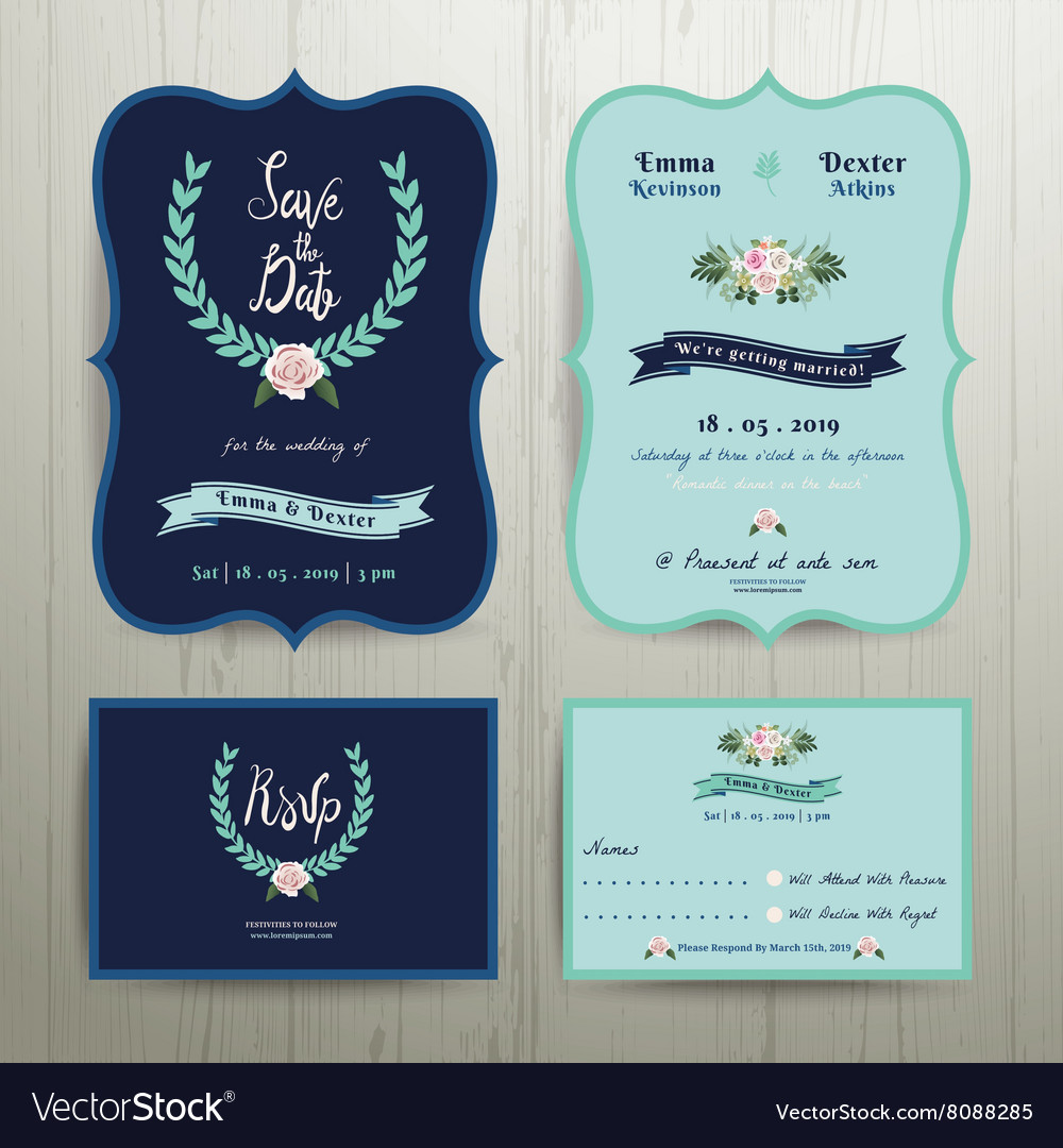 Navy Blue Wedding Invitation Card with Save the Date Set on Wood Background. Download a Free Preview or High Quality Adobe Illustrator Ai