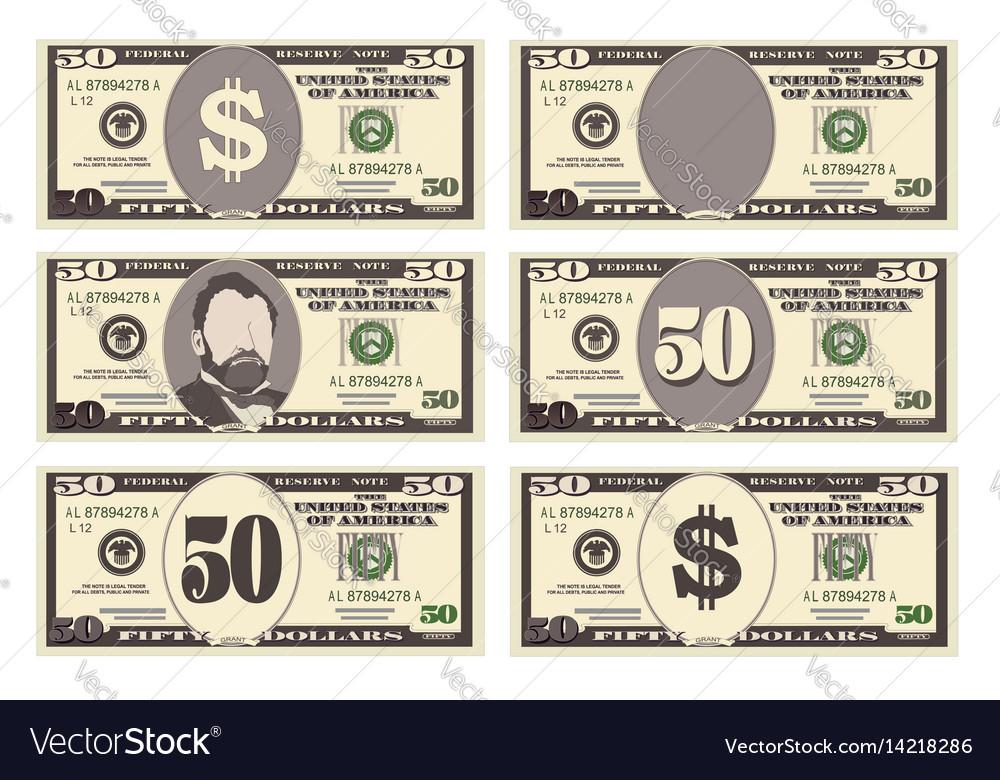 Usa banking currency cash symbol 50 dollars bill vector image