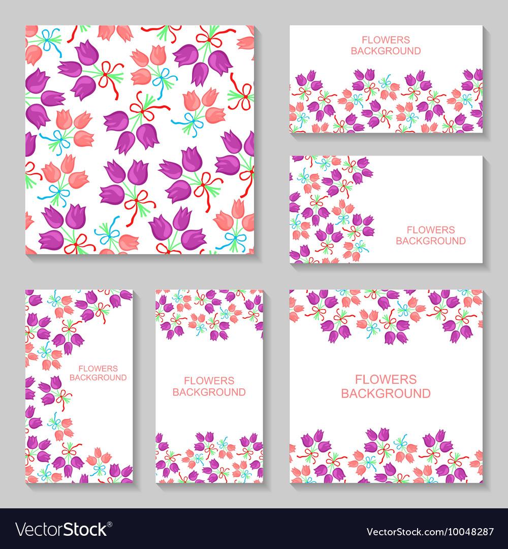 Bouquets backg set2 vector image