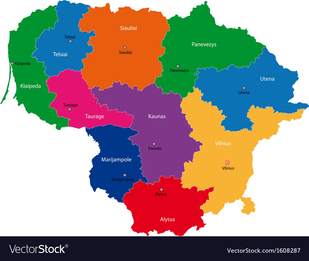 lithuania map royalty free vector image  vectorstock - lithuania map vector image