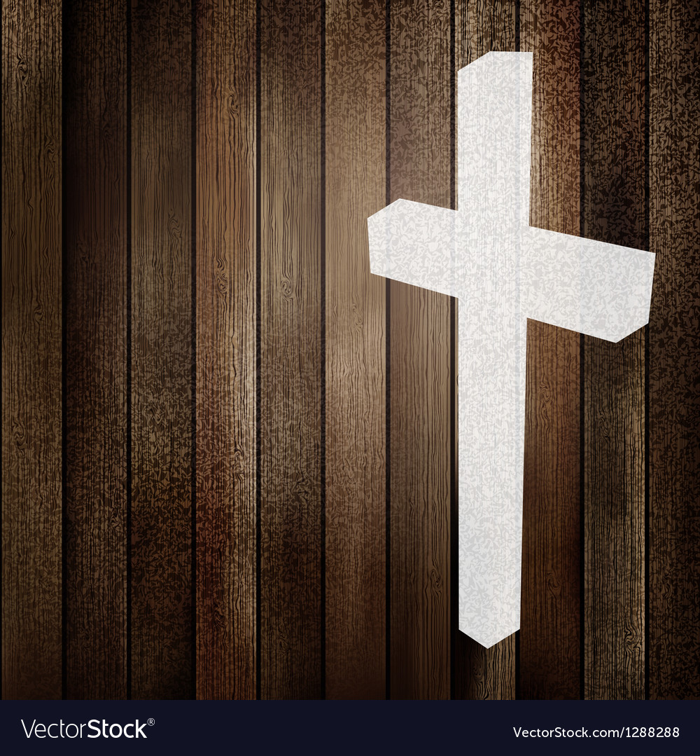 Wooden background with white cross EPS8 vector image