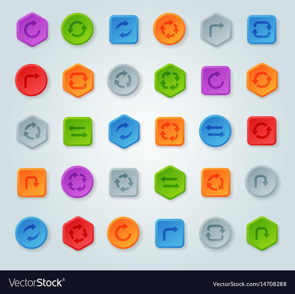 Colorful website turn reload buttons design vector image
