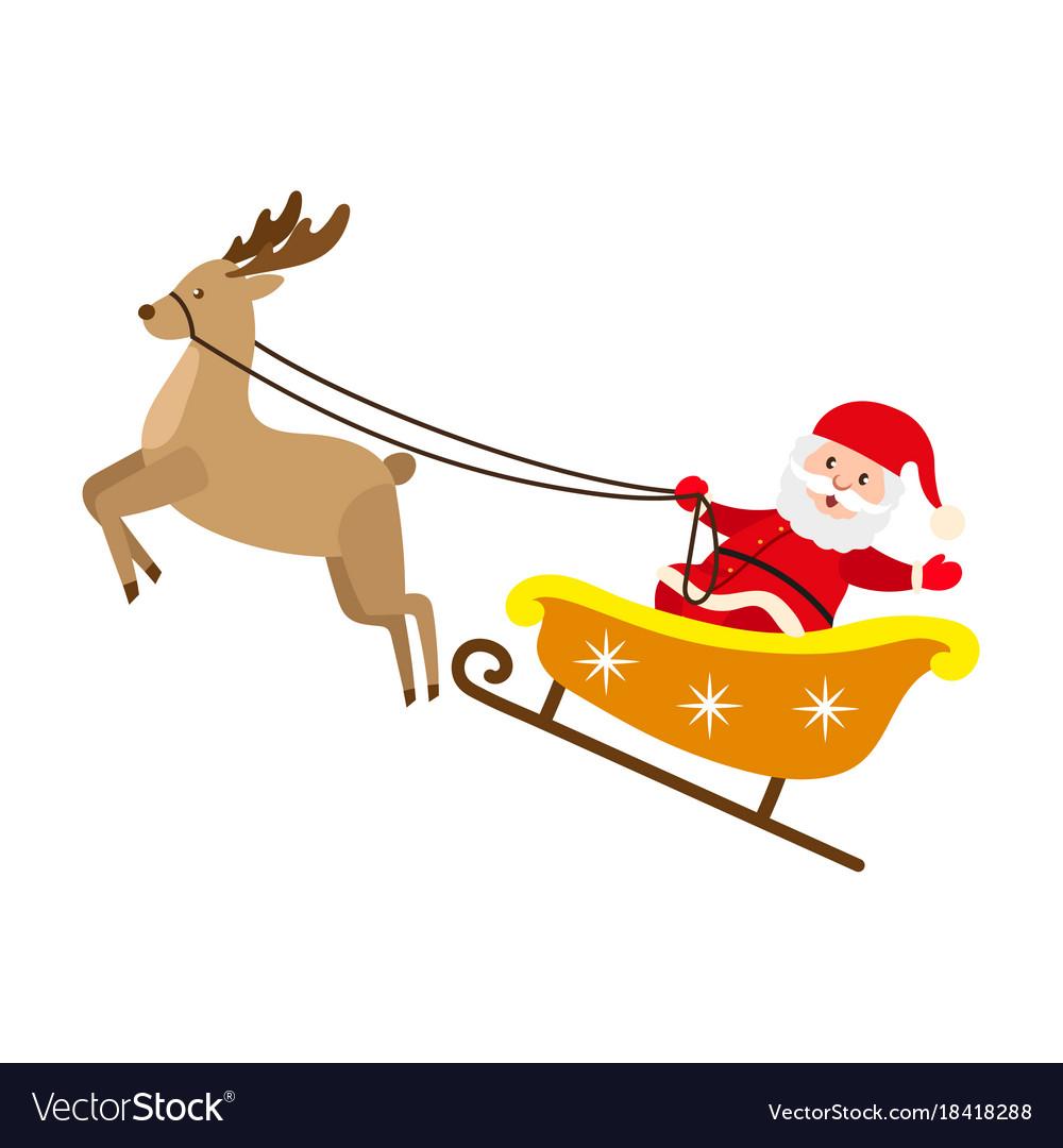santa claus riding reindeer christmas sleigh vector image - Reindeer And Santa