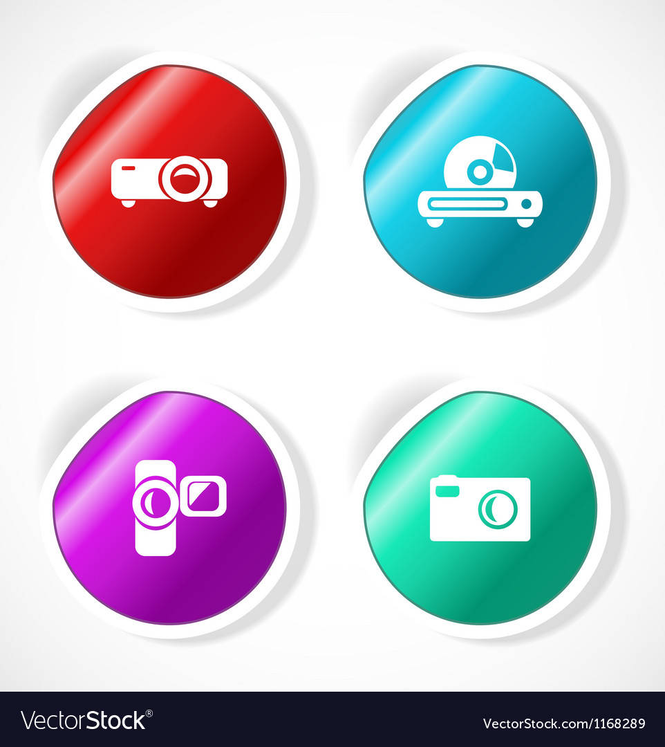 Set of stickers with icons Vector Image