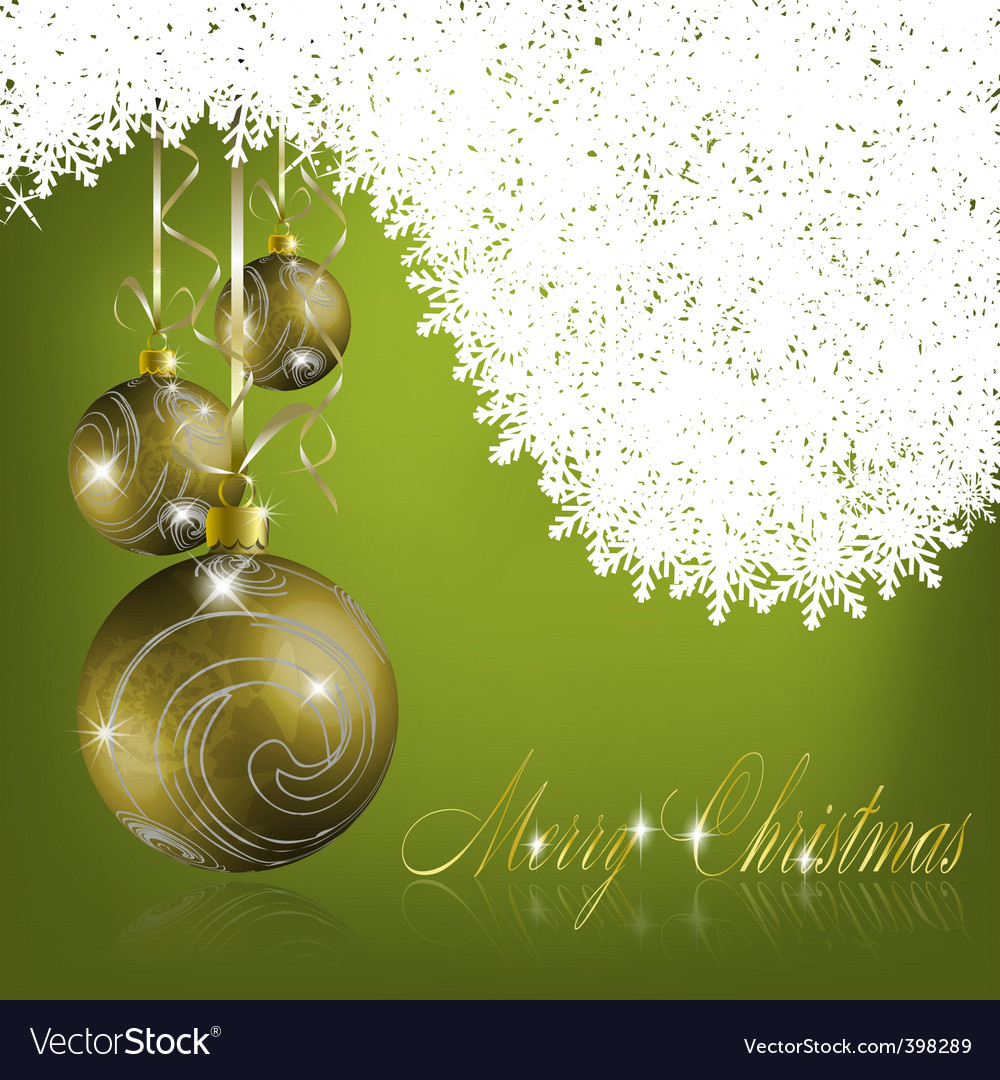 Green merry Christmas greeting card vector image