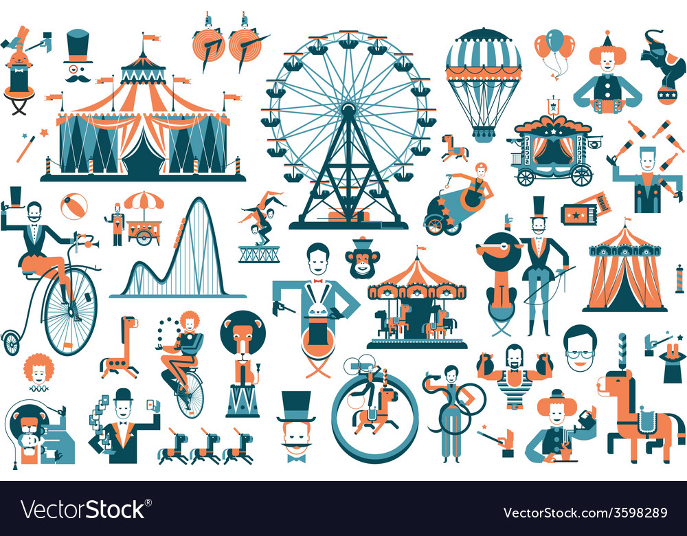 Cute circus performance related items vector image