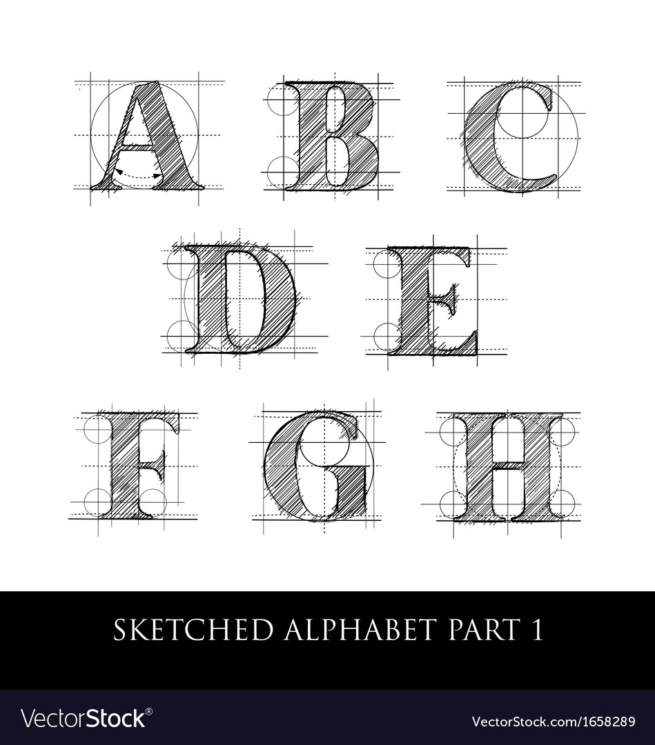 Sketched diagram alphabet set 1 vector image