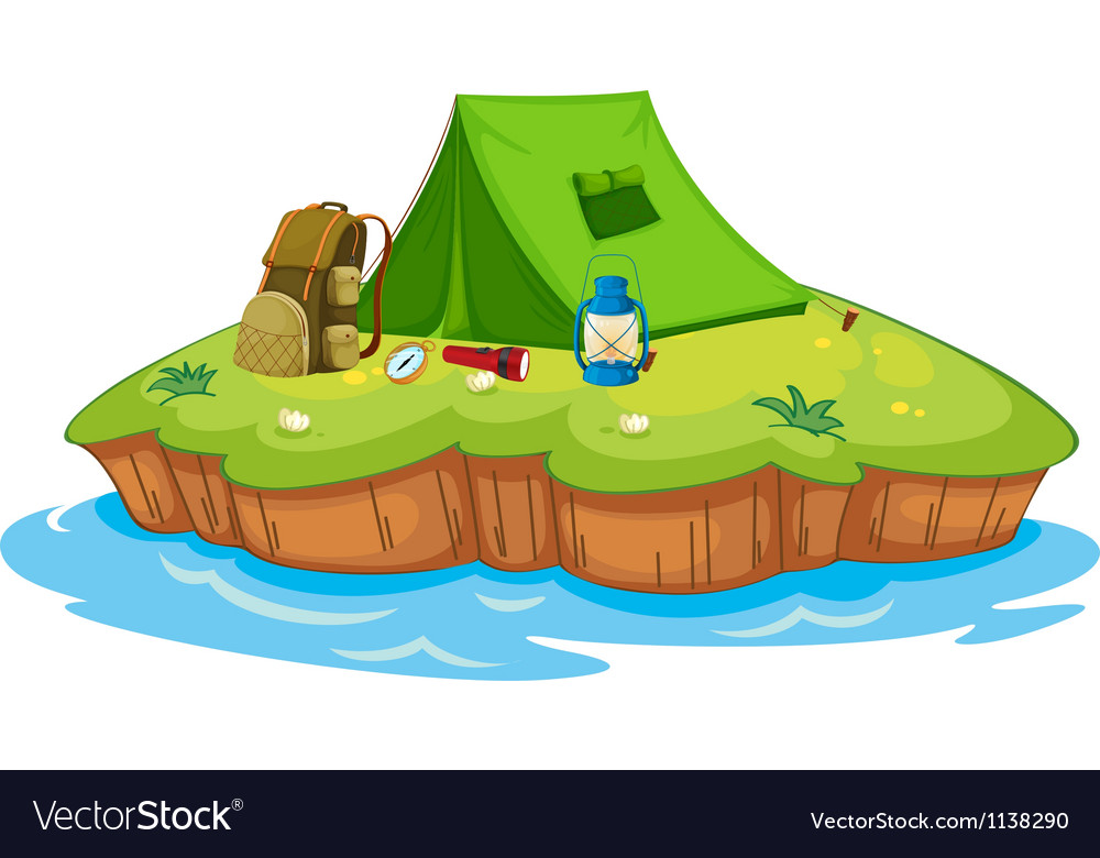 Camping on an island vector image