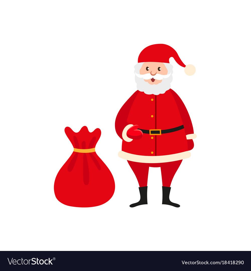 cute santa claus and big bag of christmas presents vector image - Santa Claus With Presents