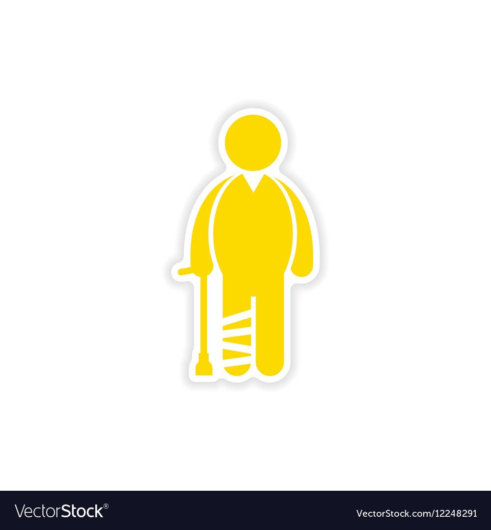 Paper sticker man with broken leg on white