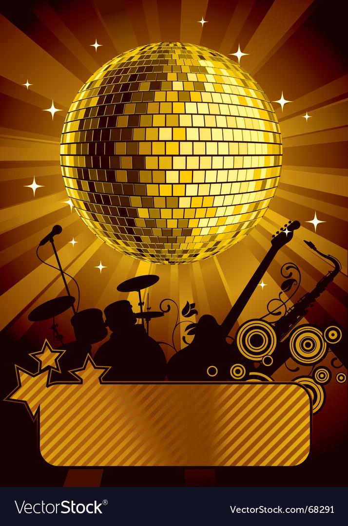 Gold disco ball vector image