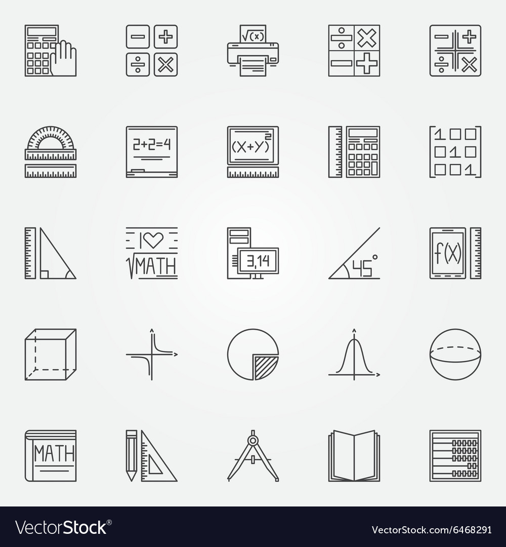 Math icons set royalty free vector image vectorstock math icons set vector image buycottarizona Image collections