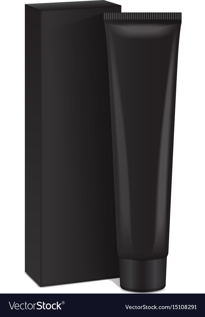 Plastic tube with black box for medicine or vector image