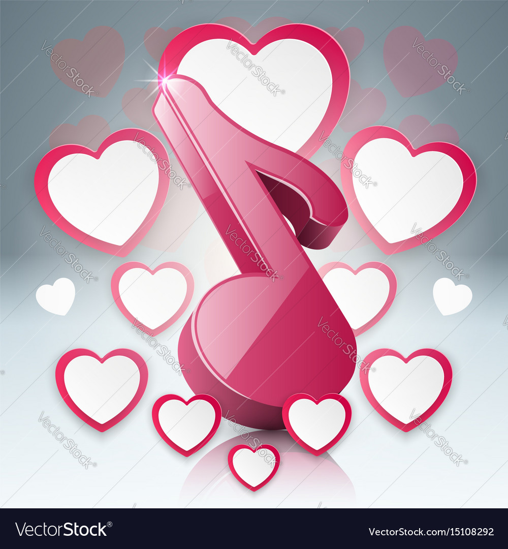 Music education infographic note heart icon vector image