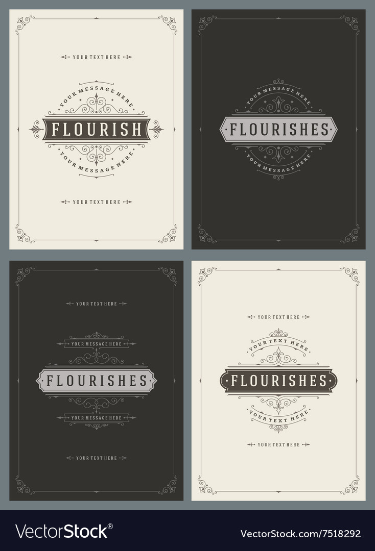 Vintage Ornament Greeting Cards Templates vector image