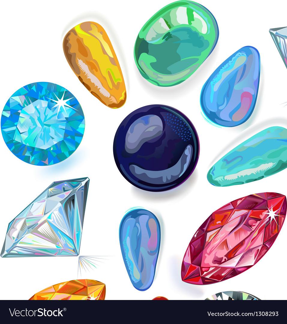 Array of precious stones Royalty Free Vector Image