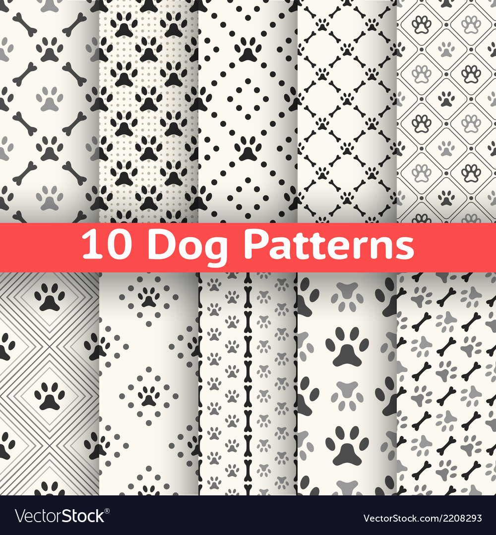 Set of animal seamless pattern of paw footprint vector image