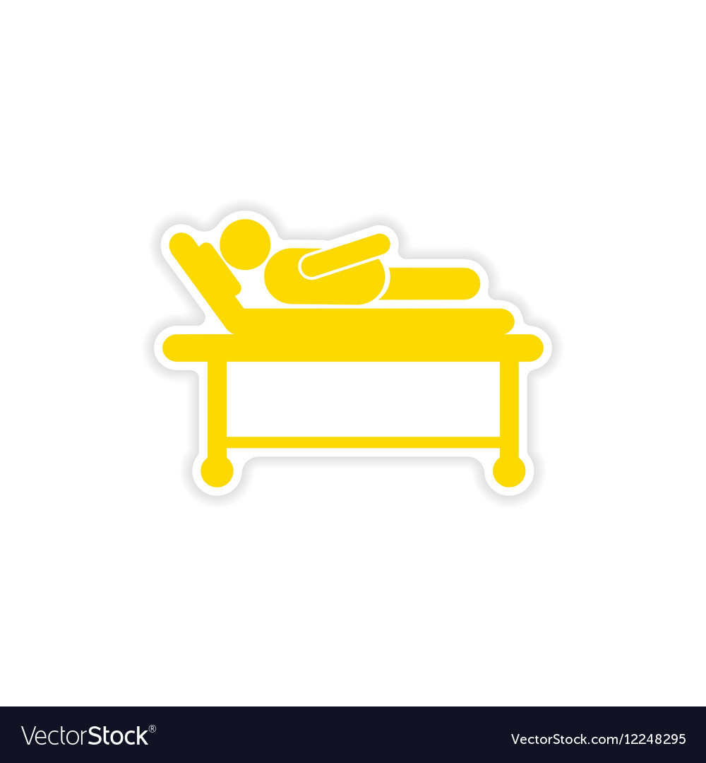 Paper sticker man in hospital bed on white