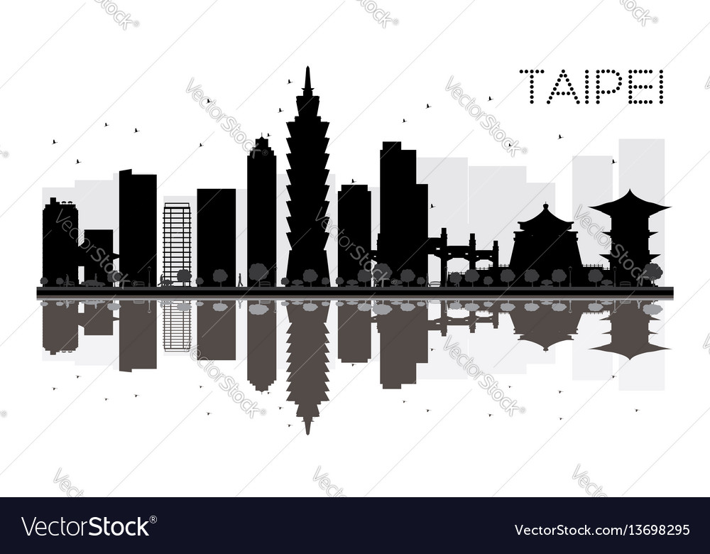 Taipei city skyline black and white silhouette vector image
