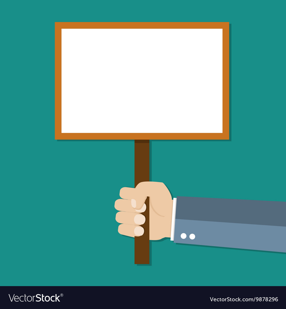 Cartoon businessman hand holding empty sign plate vector image