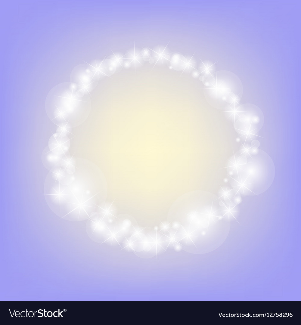 Purple romantic abstrack sparkling circle frame vector image