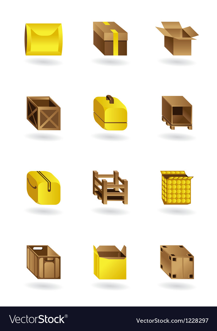 Package icons set vector image