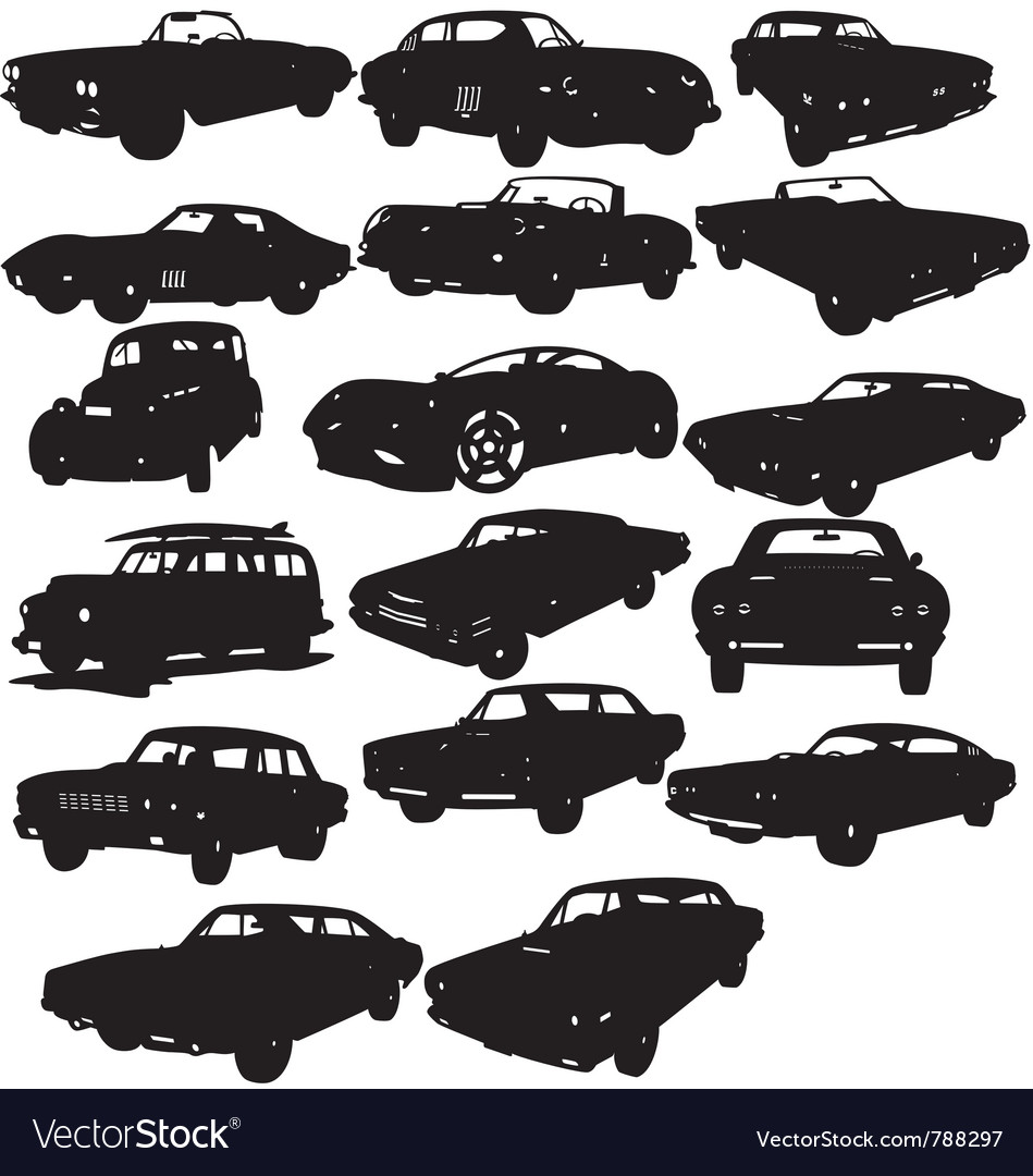 Classic car silhouettes vector image
