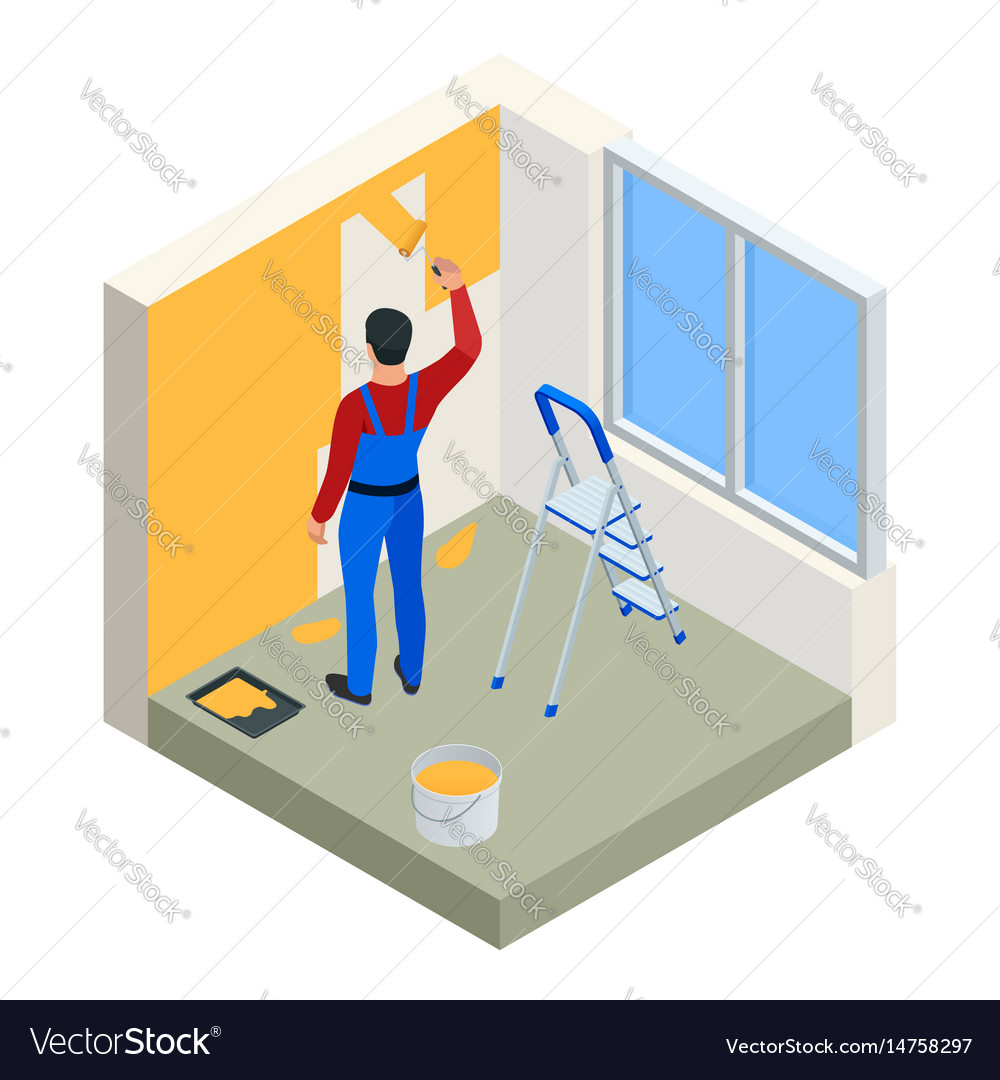 Isometric paintroller painting white wall with vector image