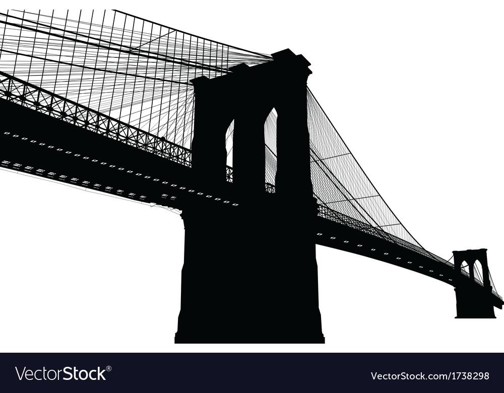New York Brooklyn Bridge Black Silhouette vector image