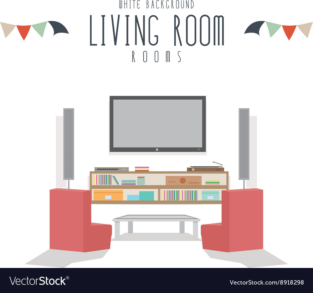 White Background Living room Royalty Free Vector Image