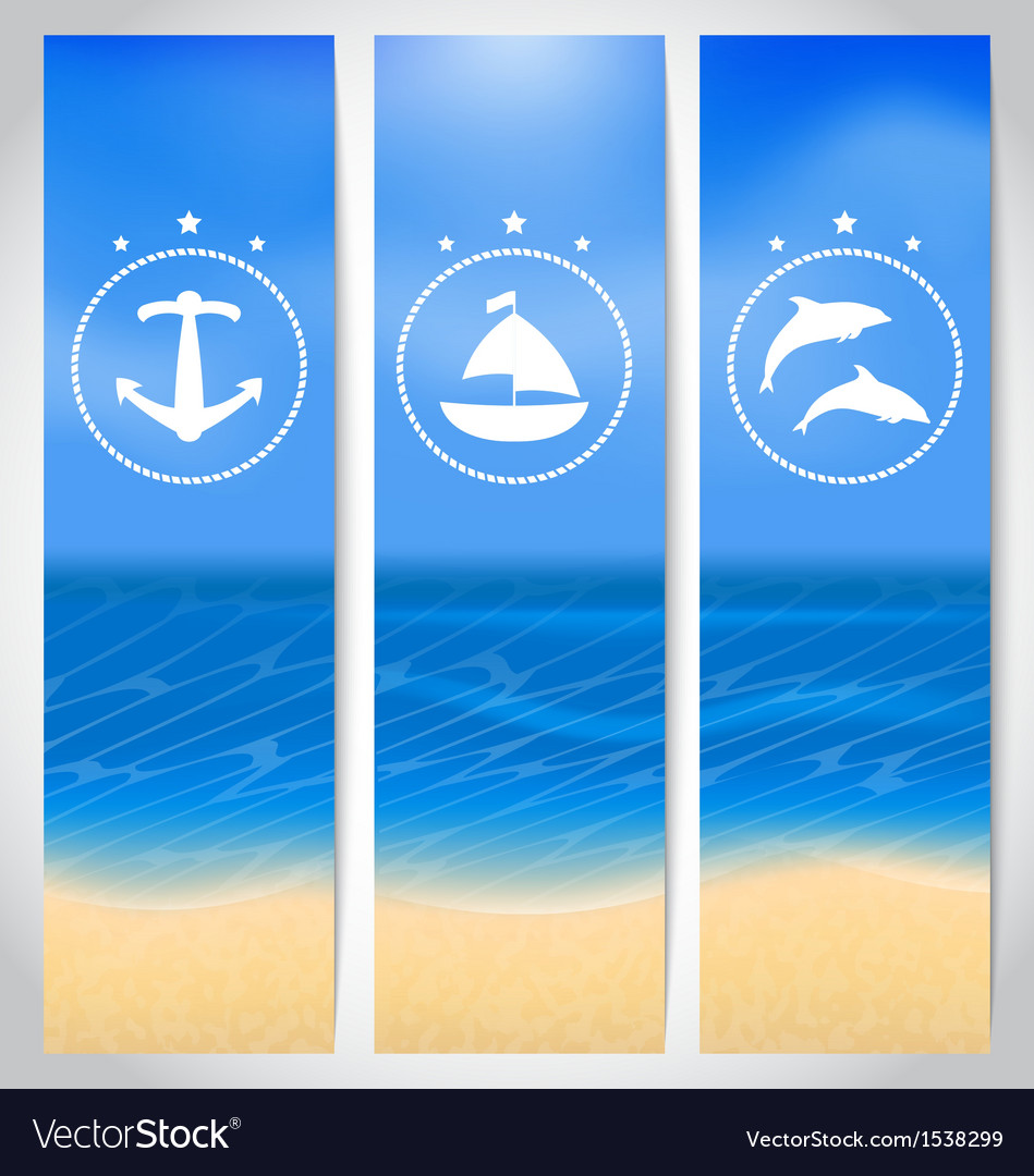 Set labels with beach summer cards vector image