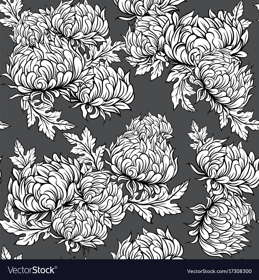 Black and white pattern with peony flowers in vector image