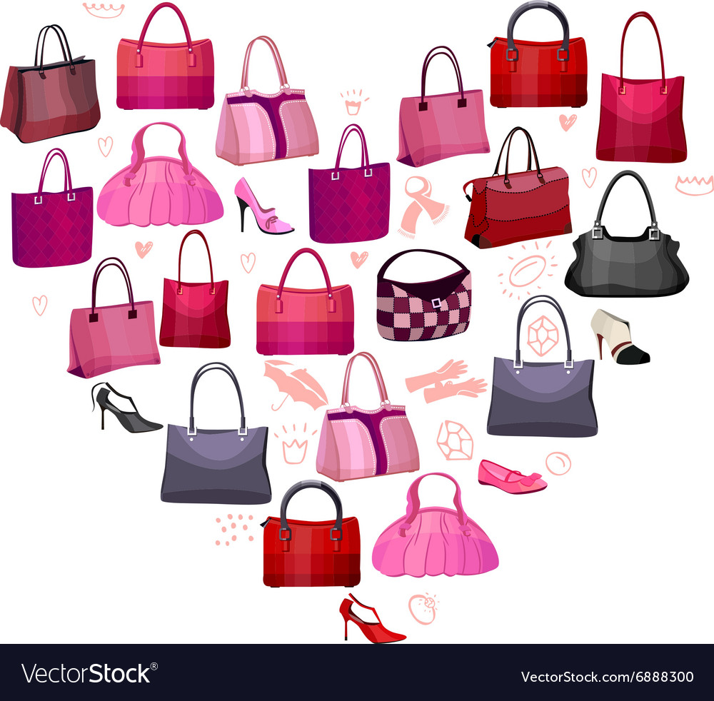 Heart made of woman bags vector image