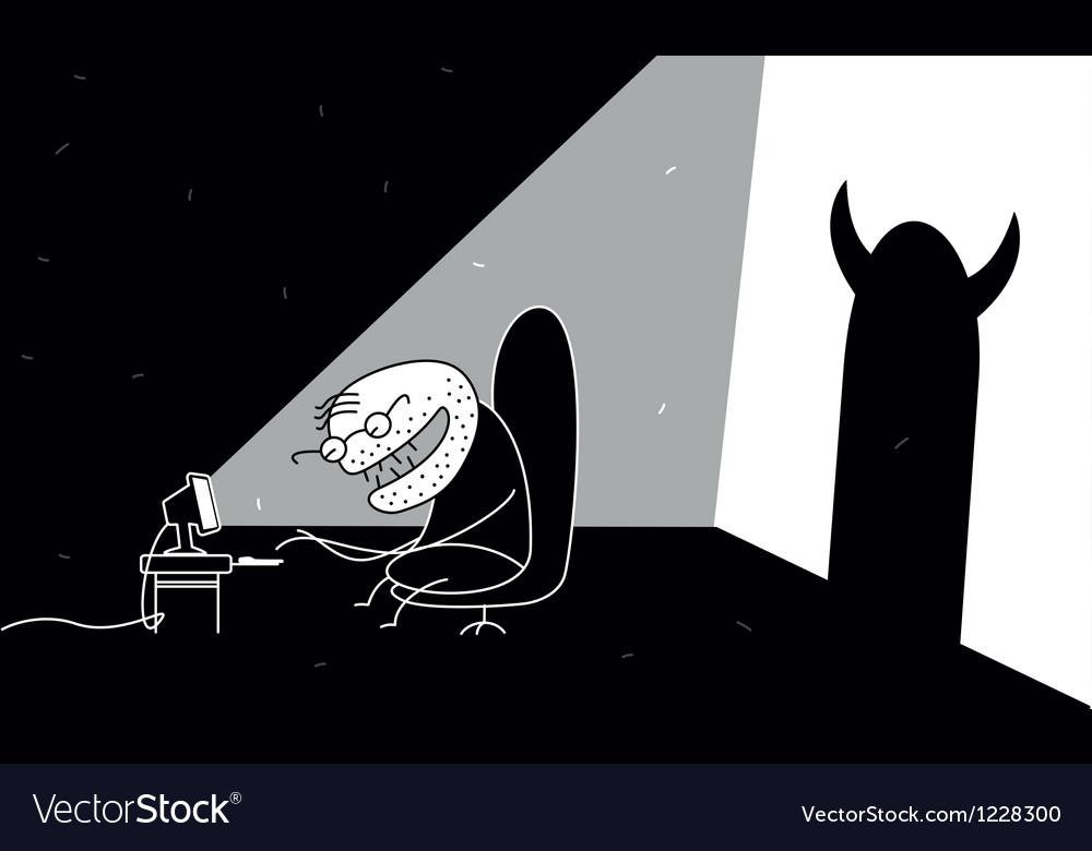 Internet maniac vector image