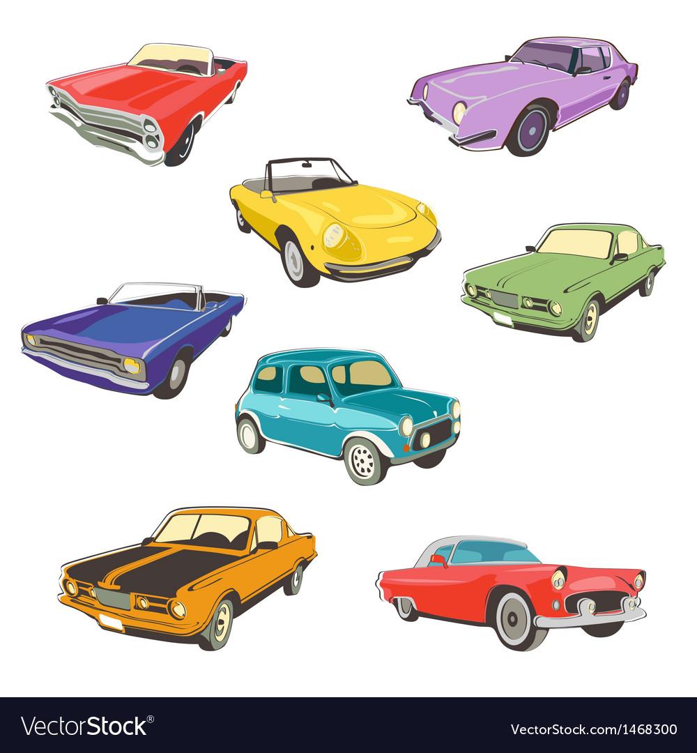 Retro autos white background vector image