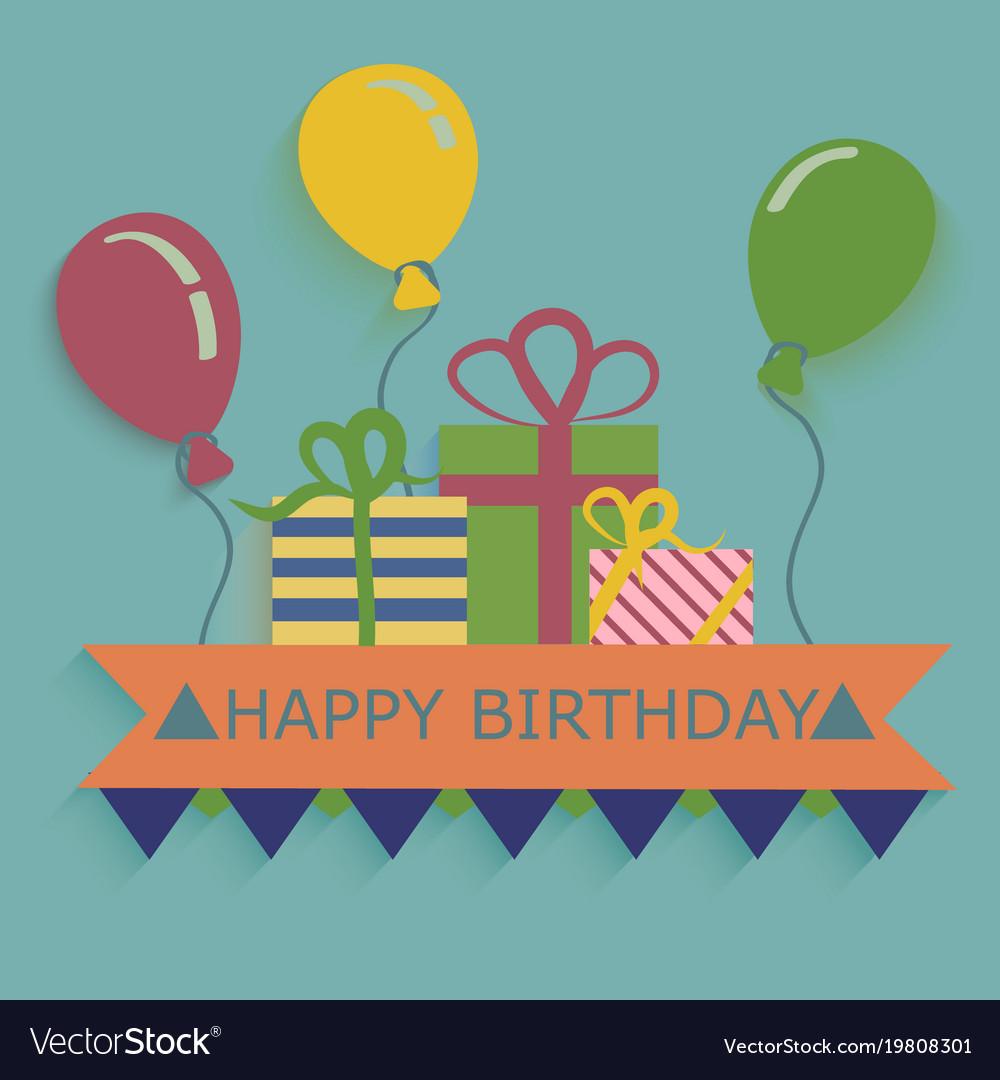 Happy birthday card design template balloon vector image