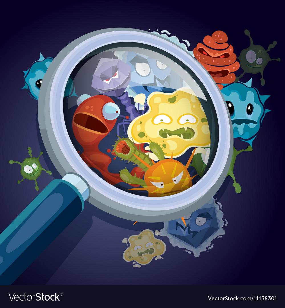 Microorganism microscopic bacteria pandemic vector image