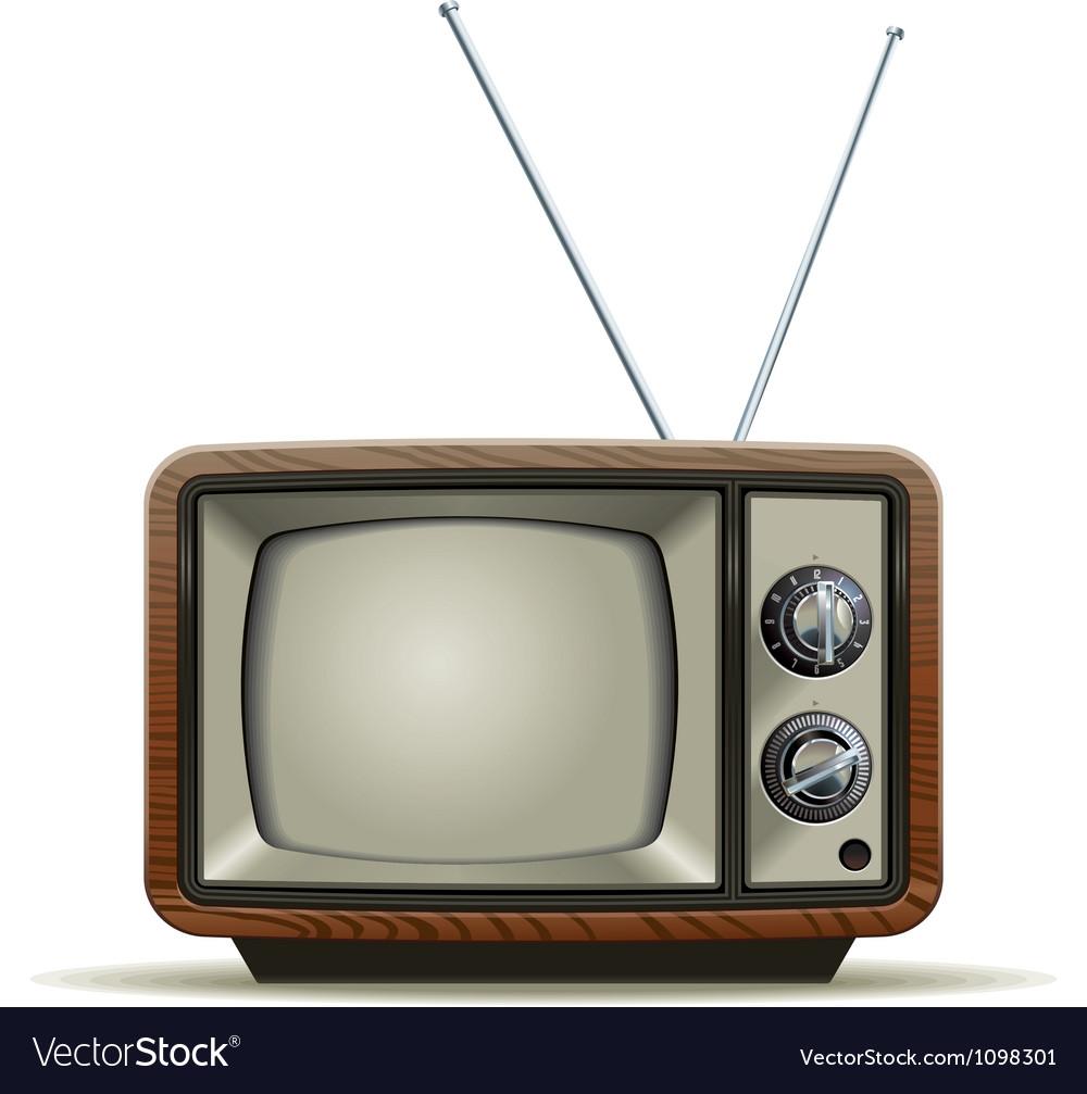 old tv royalty free vector image vectorstock. Black Bedroom Furniture Sets. Home Design Ideas