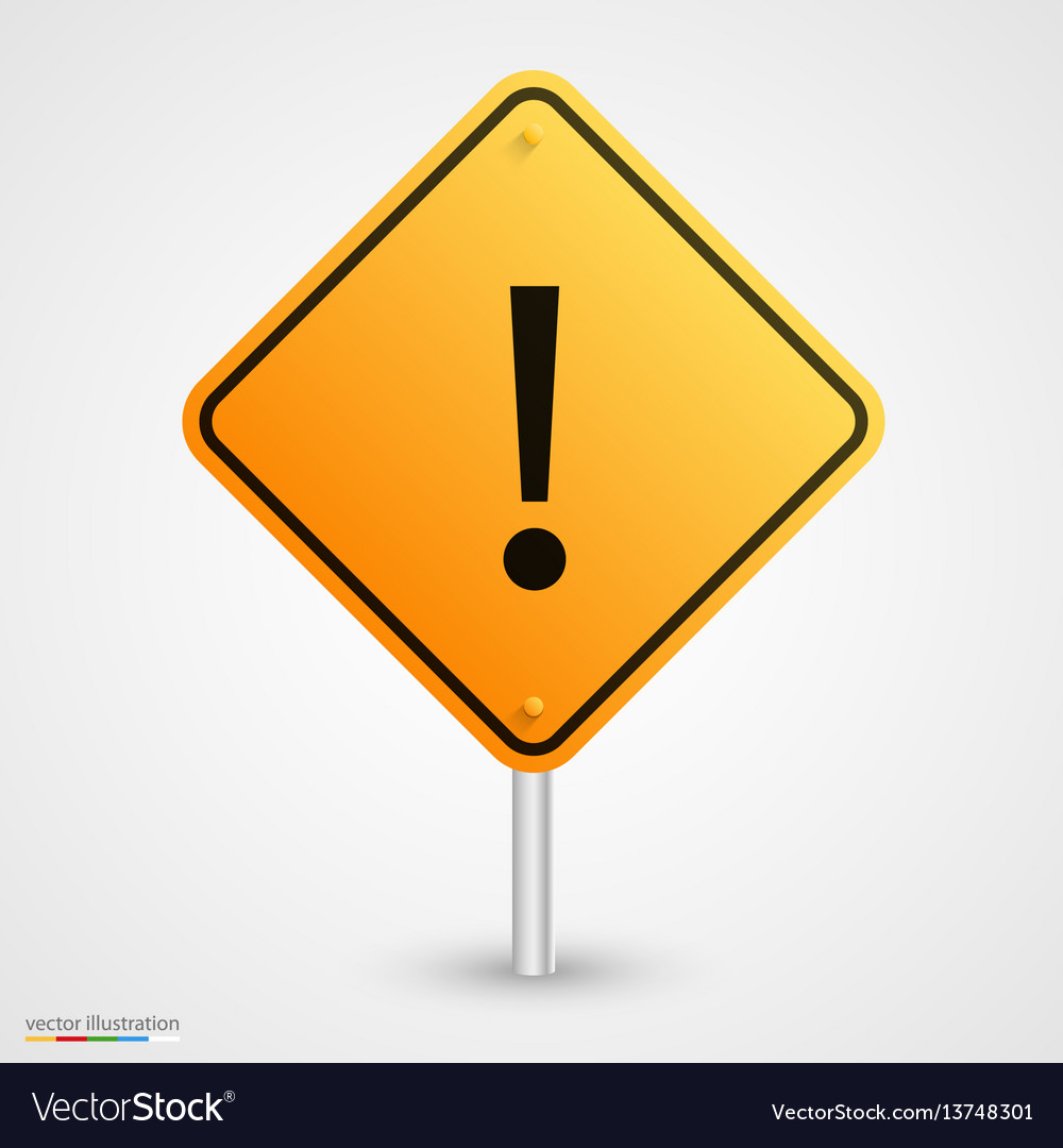 Yellow road exclamatory sign vector image