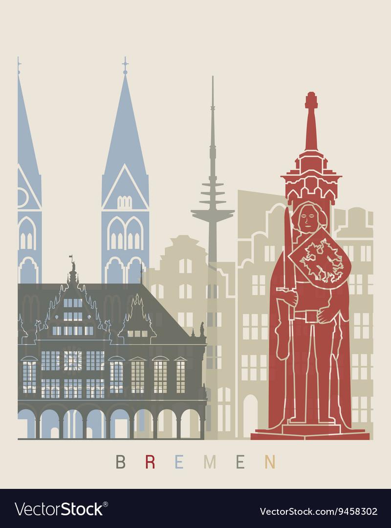 Bremen skyline poster vector image