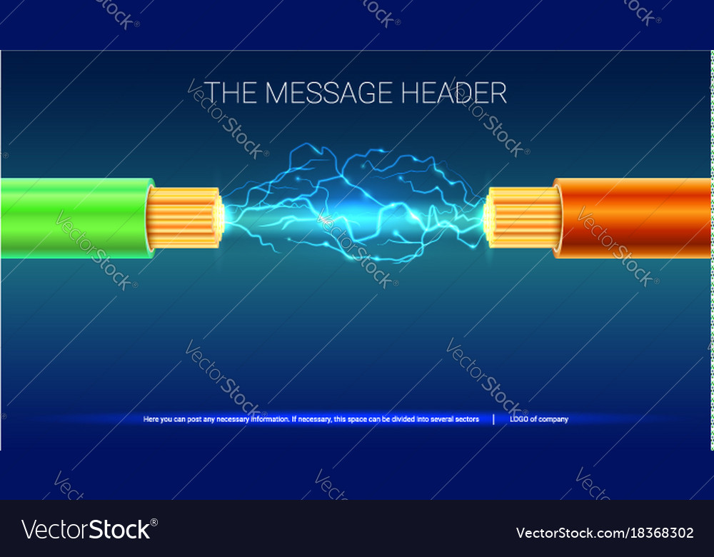 Electrical spark between two insulated stranded vector image