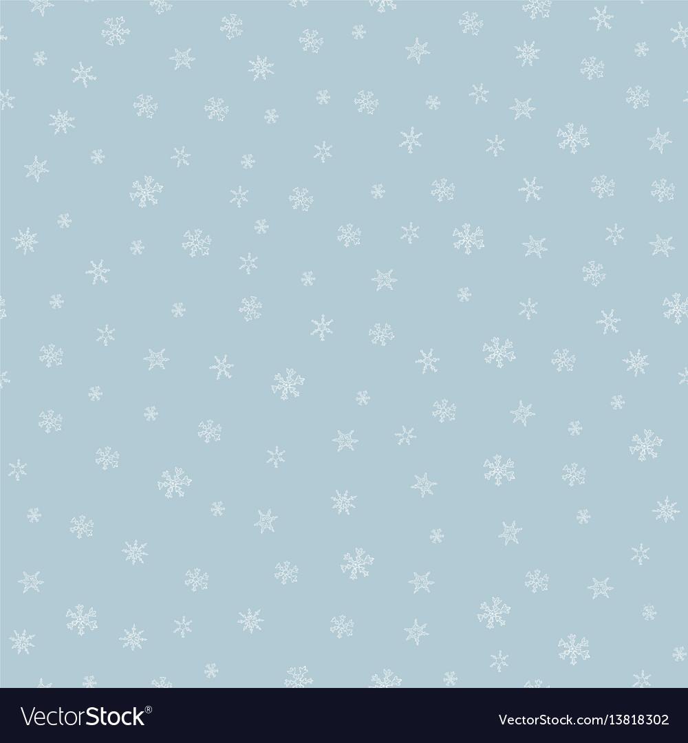 Snowflkes seamless pattern hand drawn vector image