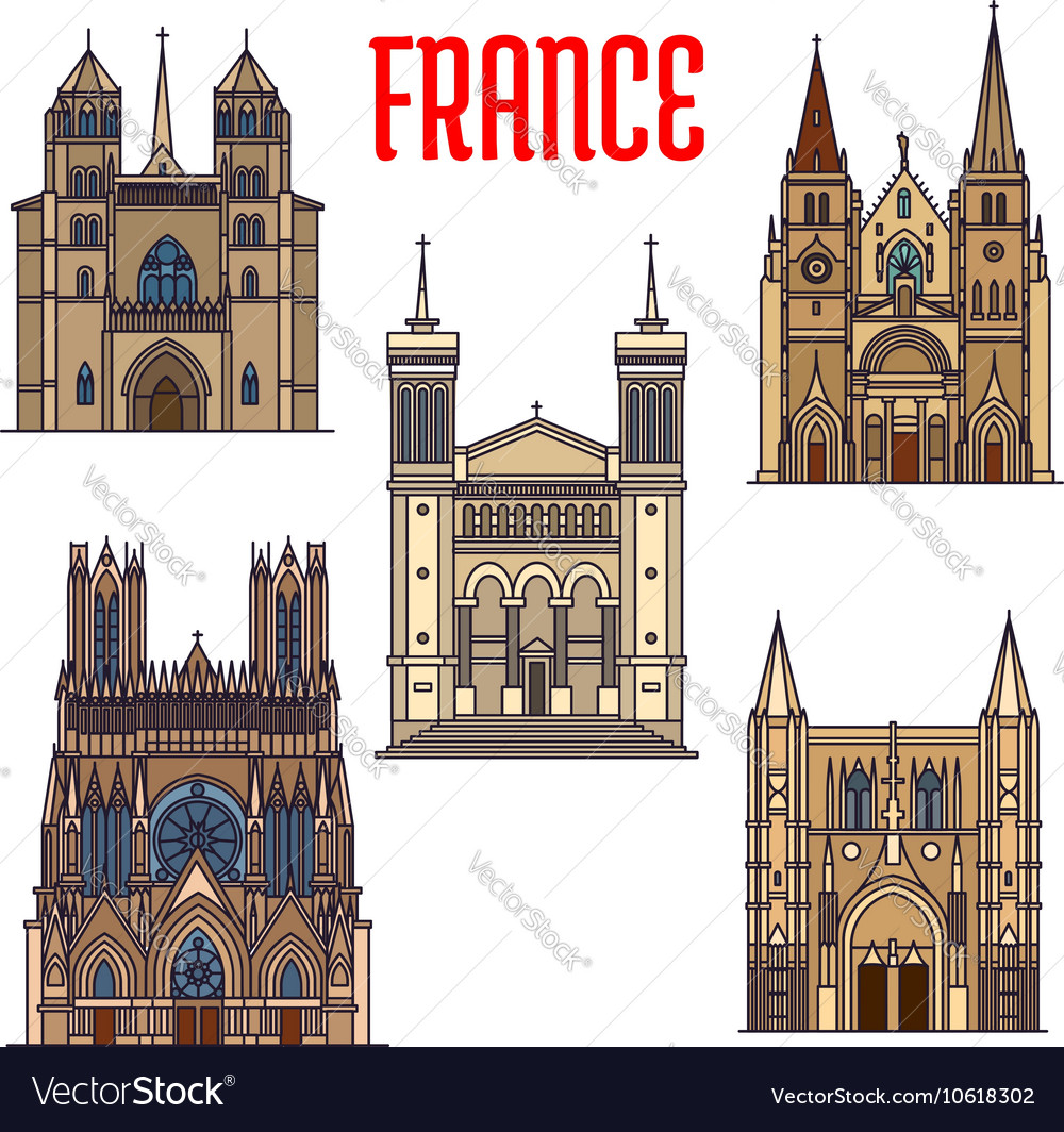 Travel Landmarks Of French Gothic Architecture Vector Image