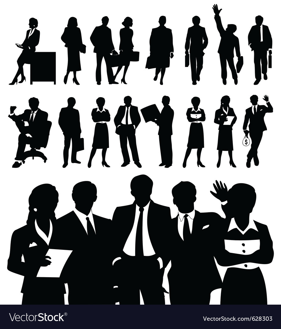 Business People Silhouette White