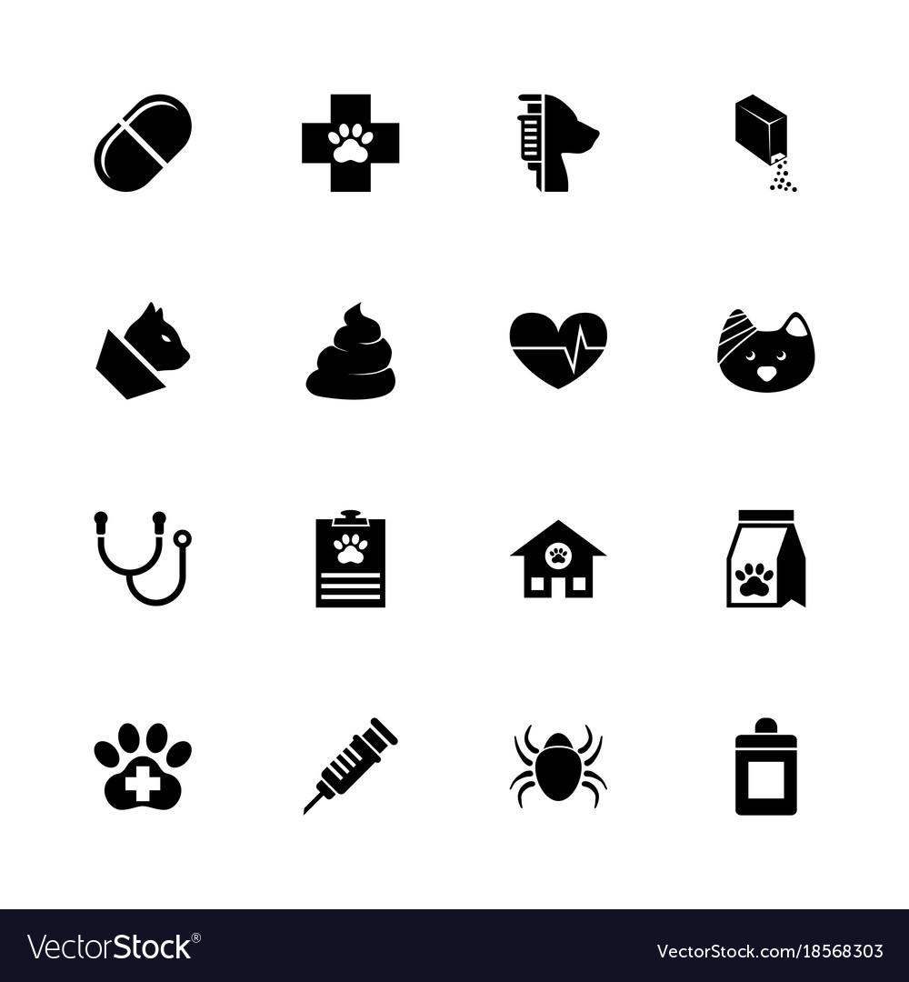 Pet vet - flat icons vector image