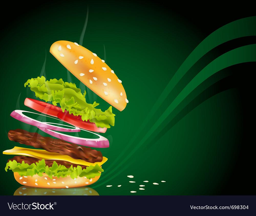 Steaming hamburger vector image