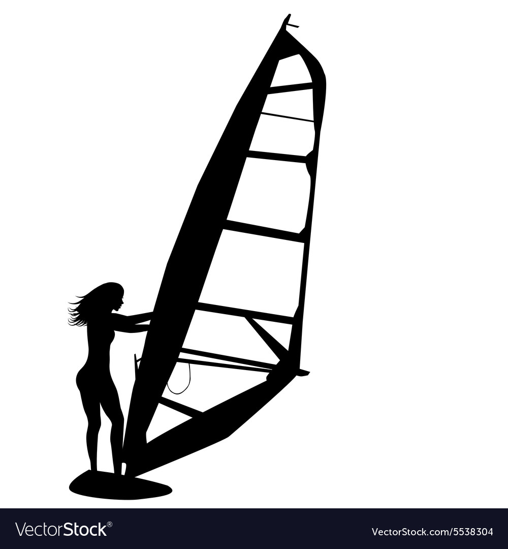 Woman windsurfing vector image