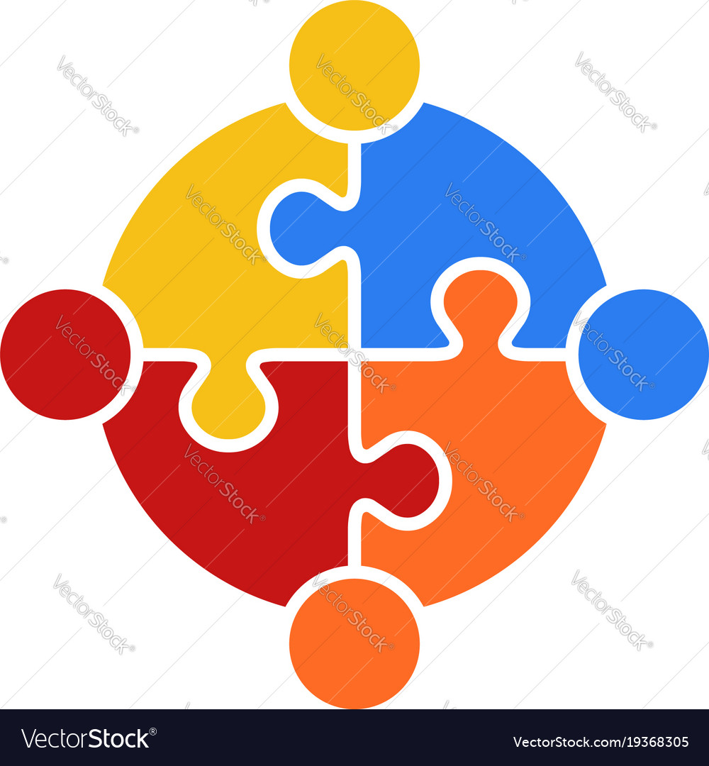 Circle puzzle of teamwork logo vector image