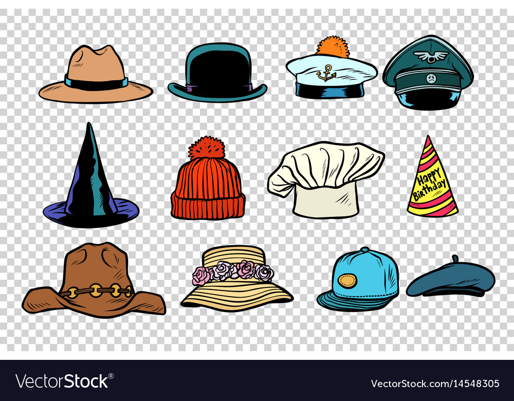 Hat set collection on isolated background vector image